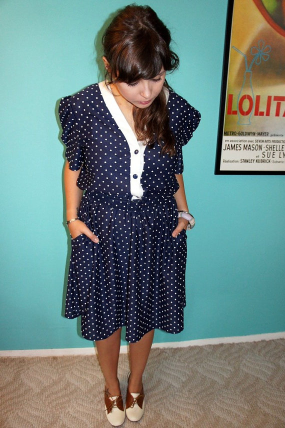 Vintage POLKA DOT ROCK v-neck dress
