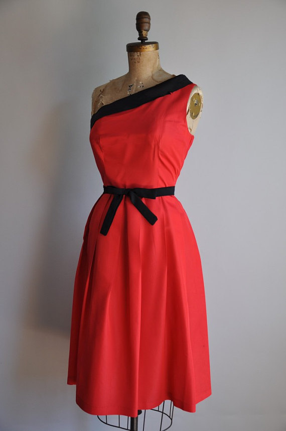 vintage 1950s Red Vixen cocktail party dress