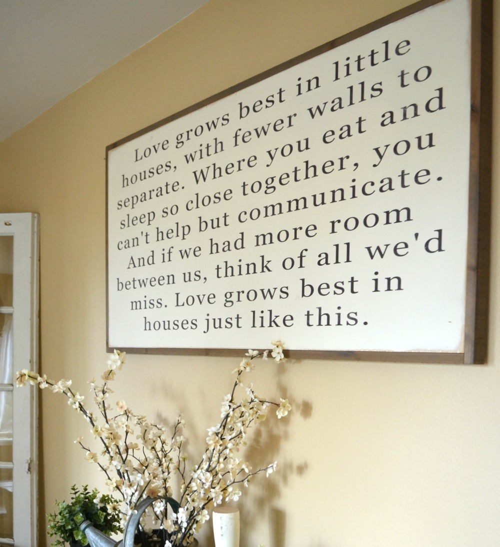 Love Grows Best In Little Houses Sign Little Vintage Nest