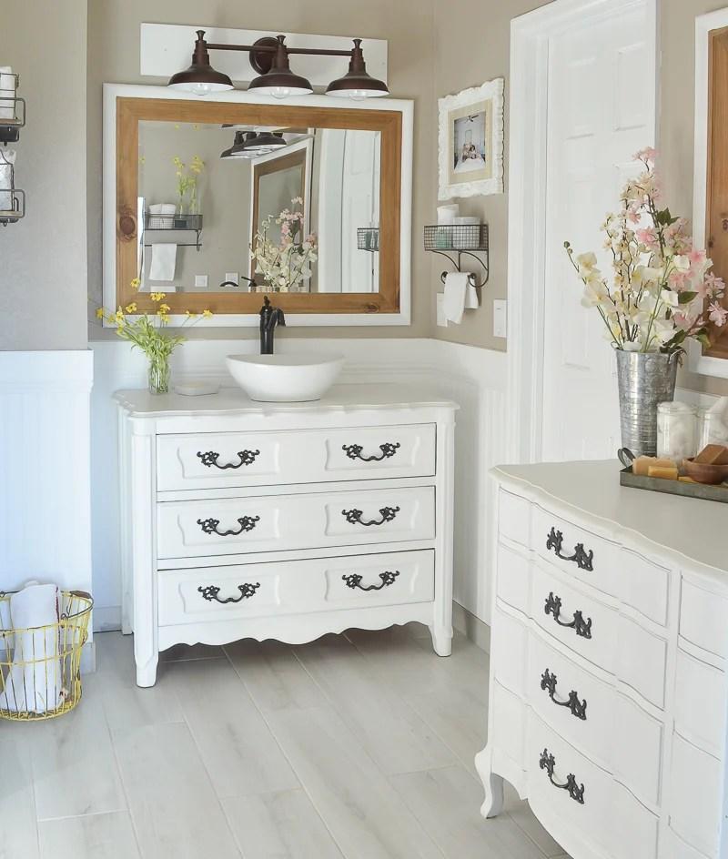 new and improved farmhouse bathroom vanities - little vintage nest