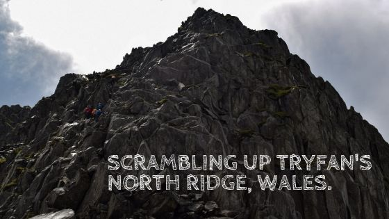 Scrambling up Tryfan North Ridge