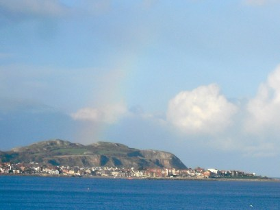 Full-on rainbow over the island