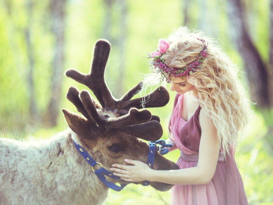 Portrait of a girl in a fairy dress next to a reindeer