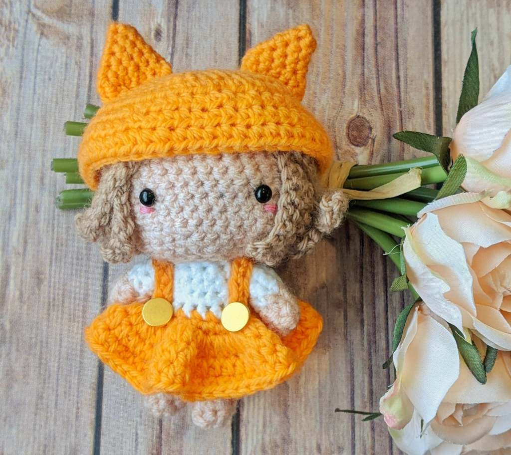 amigurumi fox girl in a free pattern finished product