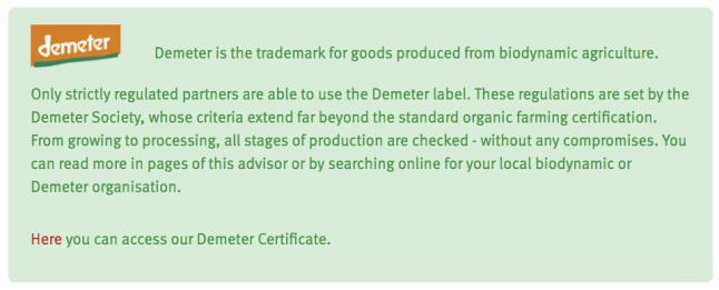 Holle organic infant formula is Demeter certified