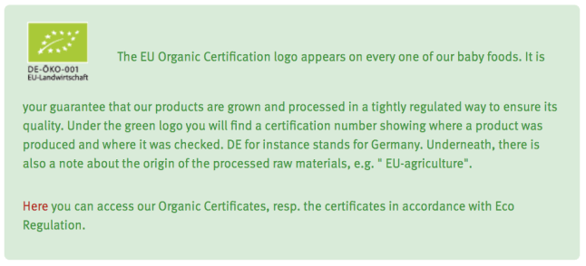 Holle organic infant formula adheres to the EU organic standards and regulations