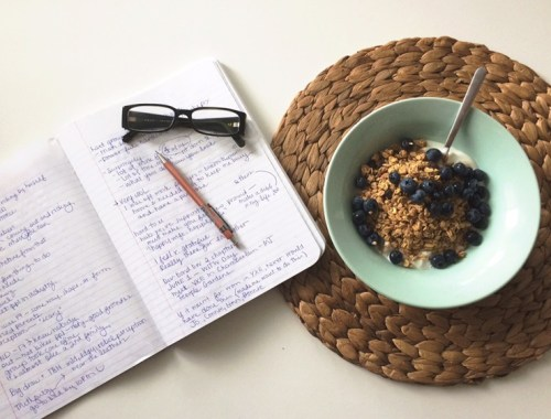 Writing down ideas over breakfast