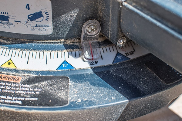 mitre saw with angle cut set at 22.5 degrees