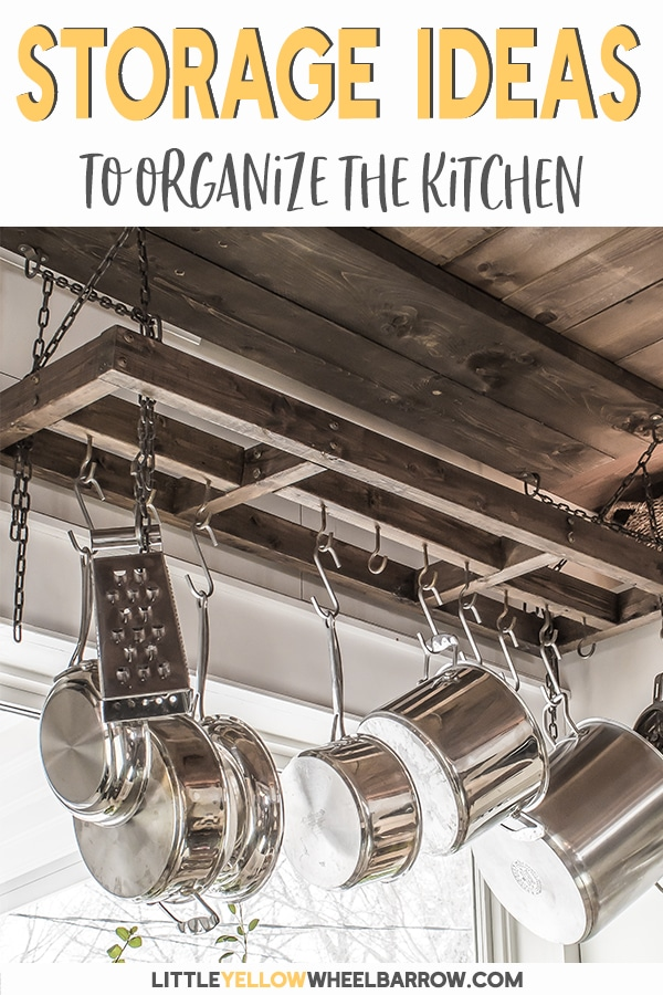 A small kitchen renovation that uses simple and easy DIY projects to maximize the space.  12 storage solutions to create an organized and efficient kitchen regardless of the size.  See what we used in our tiny farmhouse style kitchen.