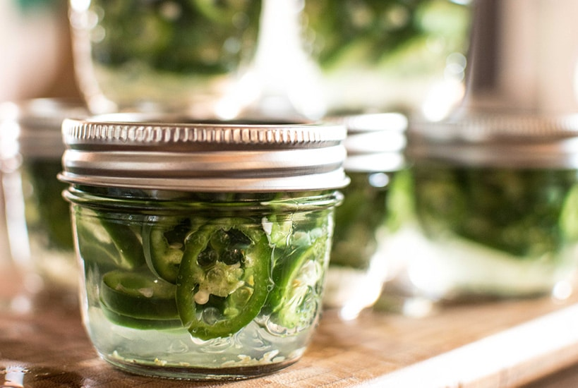 Jars of pickled jalapeno rings