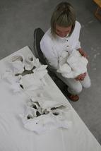 Ellen Vartun and her sculpture