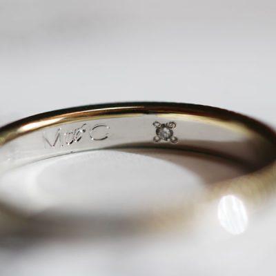 オーダーメイド結婚指輪内側にダイヤ