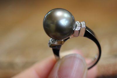 黒真珠指輪リフォーム