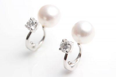 リバーシブルダイヤ&パールイヤリング 素材:k18ホワイトゴールド ¥70,600