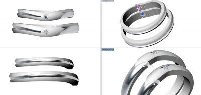 流れ星マリッジリング(日高様オーダーメイド)CAD