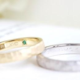 鎚目プラチナ×ゴールド結婚指輪(高瀬様オーダーメイド)