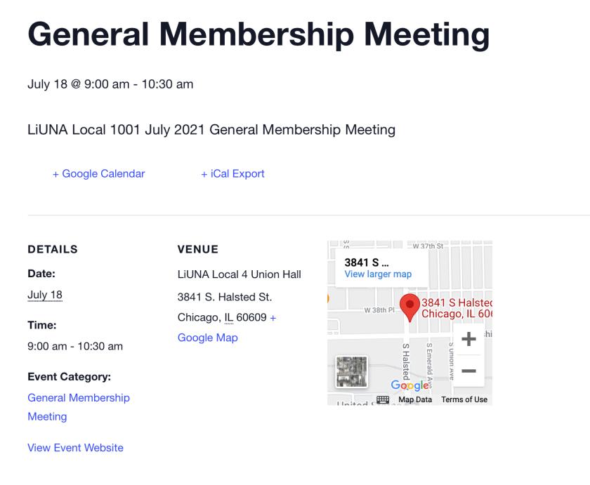 July General Membership Meeting Notice
