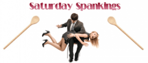 Saturday Spankings logo - a man with a woman over his lap, spanking her