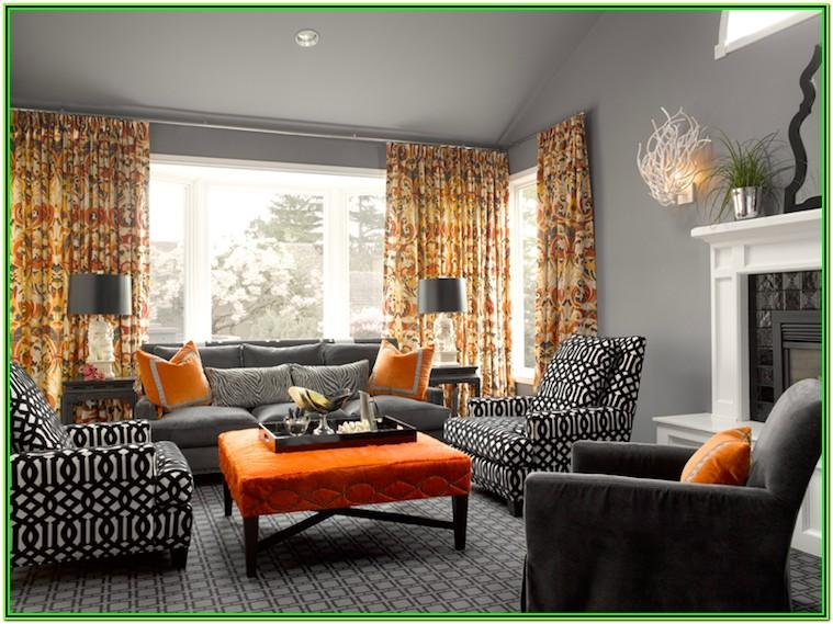 Gray And Orange Living Room Decor