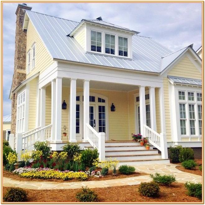 house exterior color schemes with yellow siding