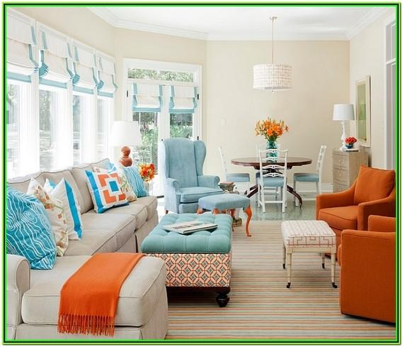 Orange And Turquoise Living Room Decor