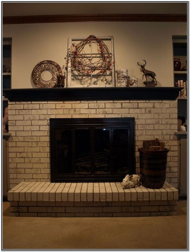 Painted Brick Fireplace With Mantel