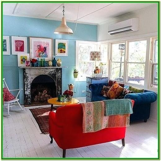Red And Aqua Living Room Decor