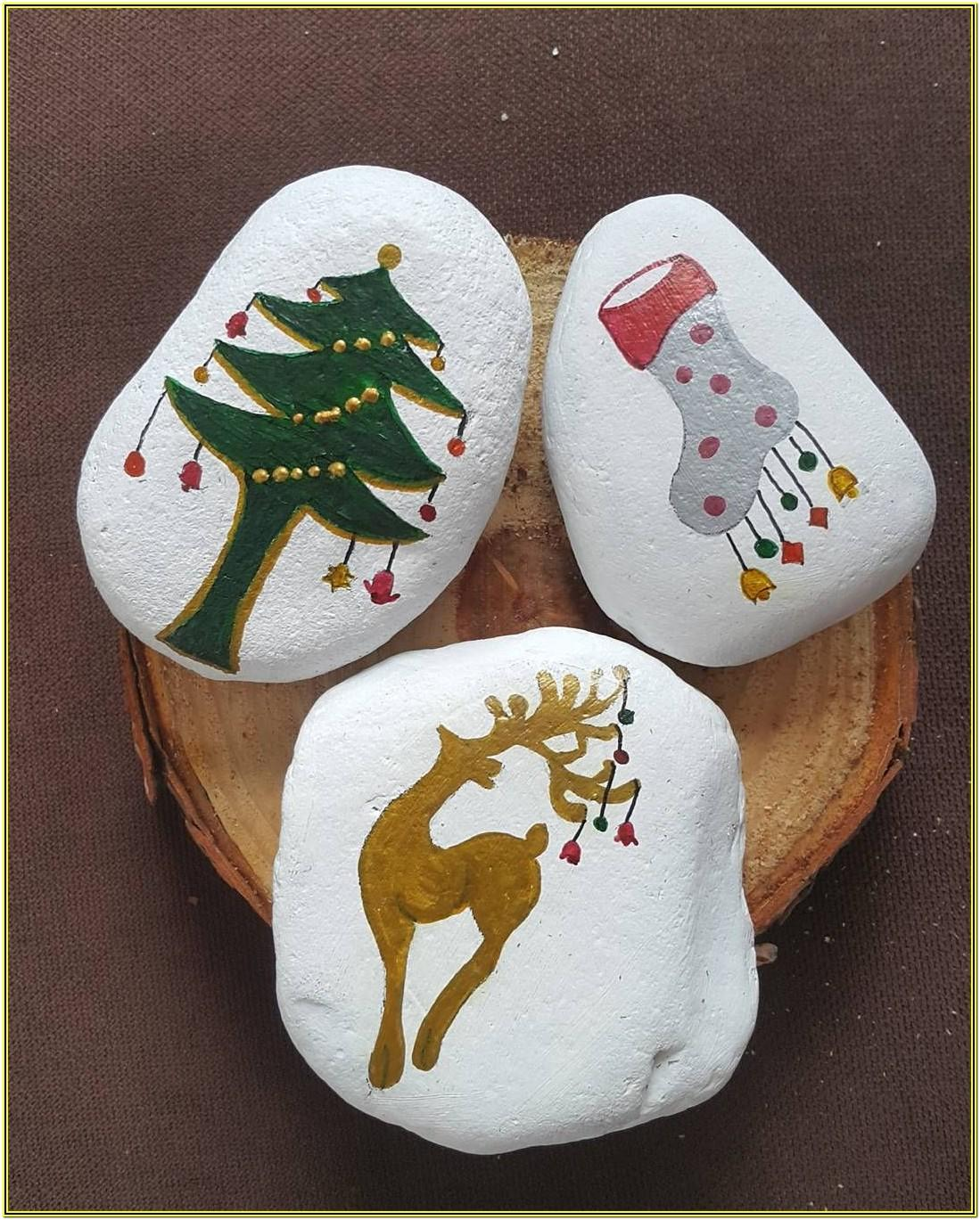 Stone Painting Ideas For Christmas