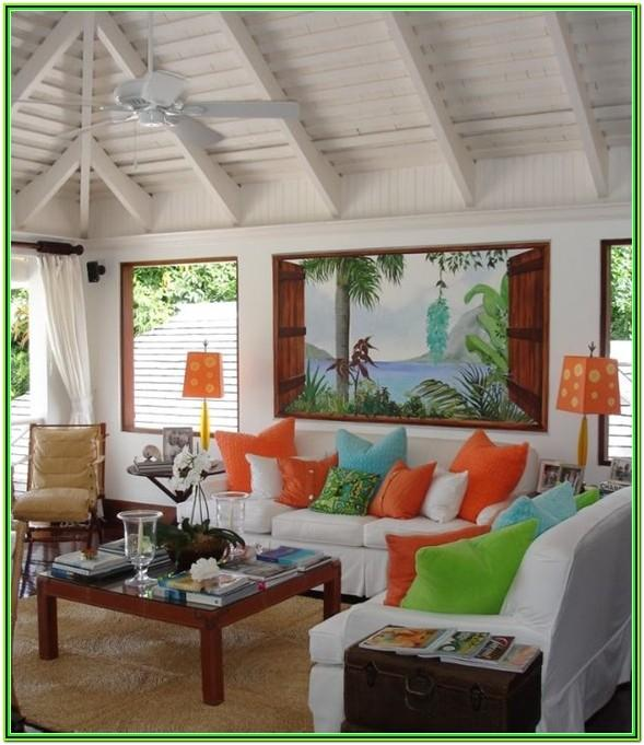 Tropical Themed Living Room Decor