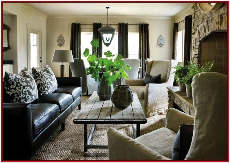 Black Leather Sofa Living Room Decor