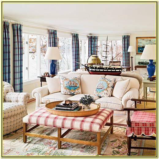 blue and red living room decor