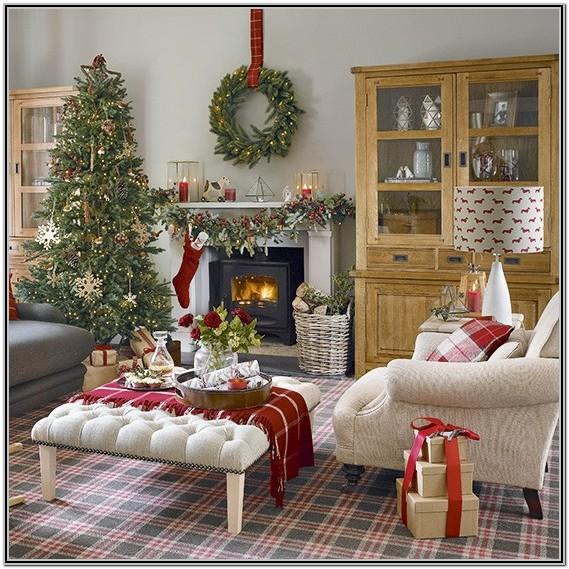 Blue White Christmas Living Room Decor