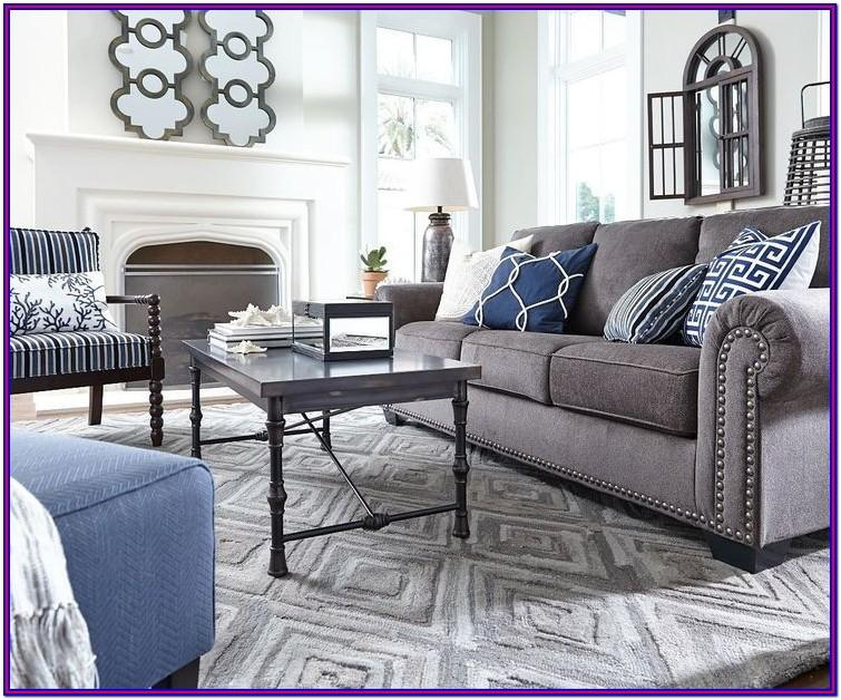 Decor Grey And Dark Blue Living Room