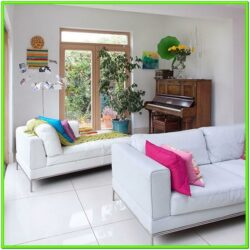Decorate Living Room White Leather Sofa
