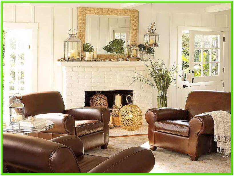 Decorate Living Room With Brown Leather Furniture