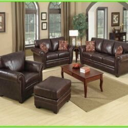 Decorate Living Room With Brown Leather Sofa
