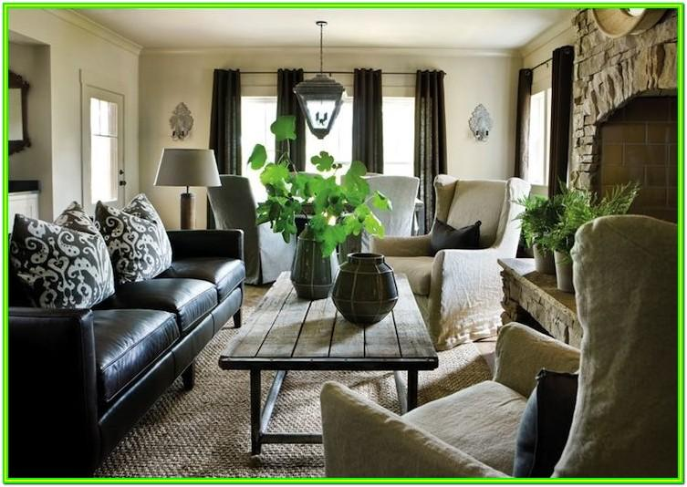 decorate living room with dark furniture