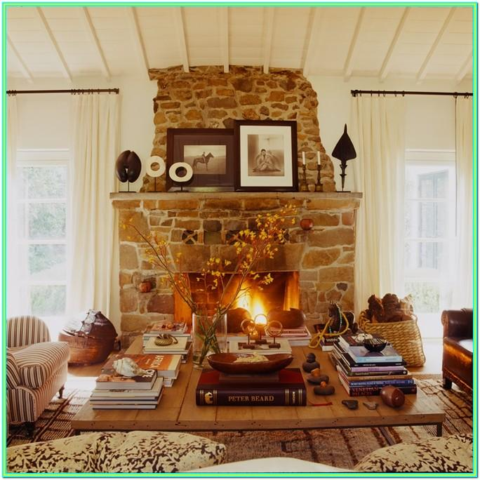 decorating living room with stone fireplace