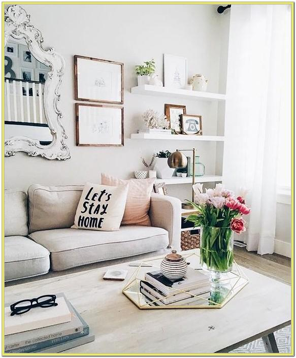 Decorating White Shelves In Living Room