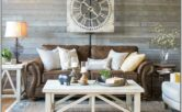 Farmhouse Living Room Decor With Brown Furniture