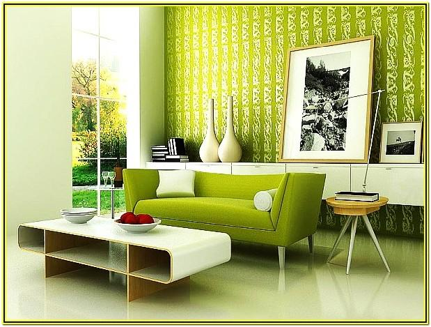 green walls living room