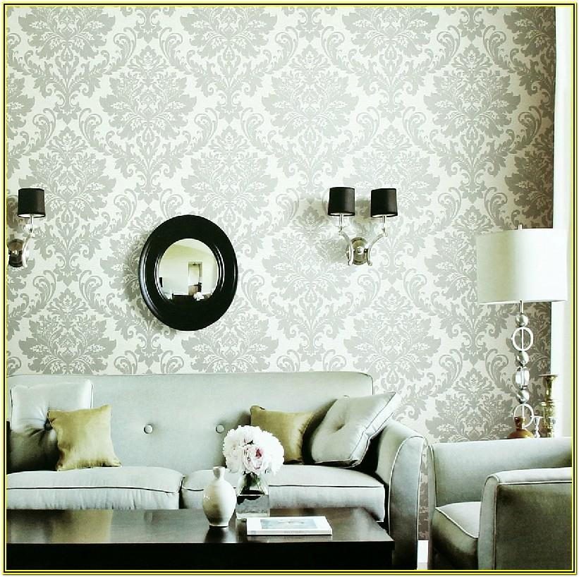Grey And White Living Room Wallpaper