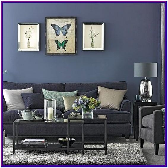 Grey Black White Blue Living Room Decorating