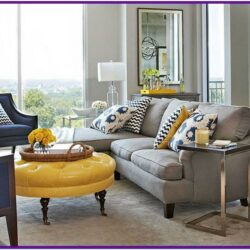 Grey Sectional With Navy Living Room Decor