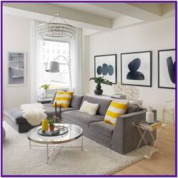 Grey White And Yellow Living Room Decor