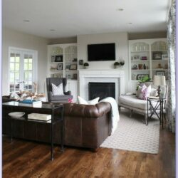 Leather Furniture Living Room Decorating Fireplace