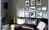 Leather Living Room Decor Grey Walls