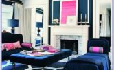 Light Blue Pink Fuschia Living Room Decor