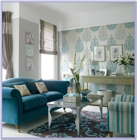 Light Grey Living Room With Teal Decor
