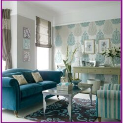 Living Room Aqua Blue Pink Decor